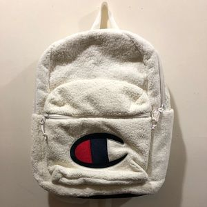 Champion, Sherpa Backpack, White, Measures 18x12x6